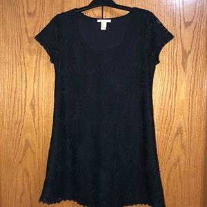 Forever 21 black lace overlay mini dress